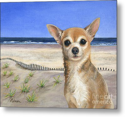 Chihuahua At Sea Isle City New Jersey Metal Print by Peggy Dreher