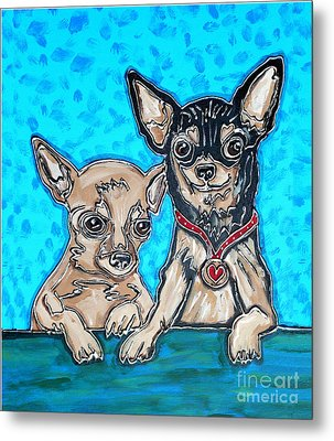 Chihuahua Duo Metal Print by Cynthia Snyder