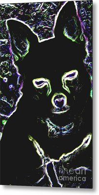 Chihuahua Silhouette With Color Metal Print by Gail Matthews