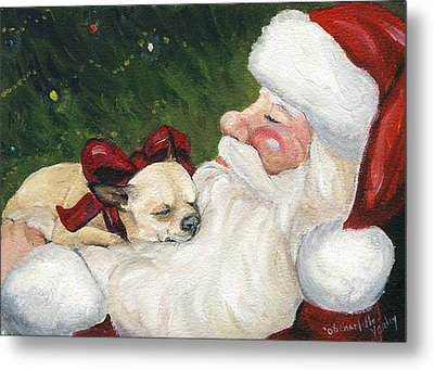 Chihuahua's Cozy Christmas Metal Print by Charlotte Yealey