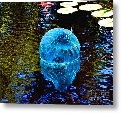 Artsy Blue Glass Float Metal Print by Luther Fine Art