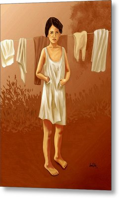 Metal Print featuring the painting Child In Need by Sena Wilson