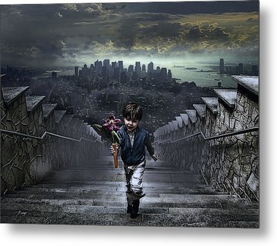 Child Of New York Metal Print by Joachim G Pinkawa