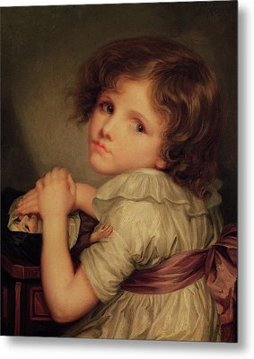 Child With A Doll Oil On Canvas Metal Print by Anne Genevieve Greuze