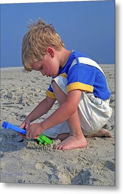 Metal Print featuring the photograph Childhood Beach Play by Marie Hicks