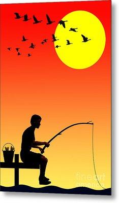 Childhood Dreams 3 Fishing Metal Print by John Edwards