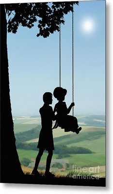 Childhood Dreams Push Me Metal Print by John Edwards