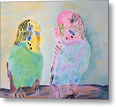 Childhood Parakeets Metal Print