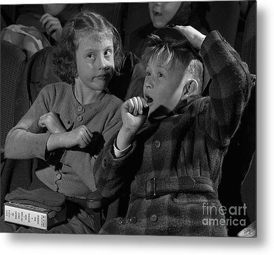 Children At A Film Matinee In 1946 Metal Print by The Harrington Collection