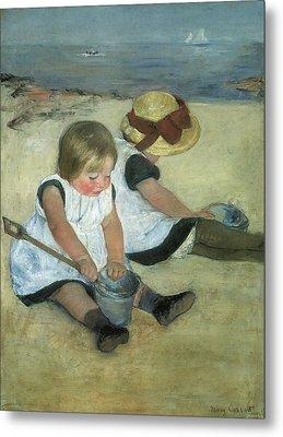 Children At The Seashore Metal Print