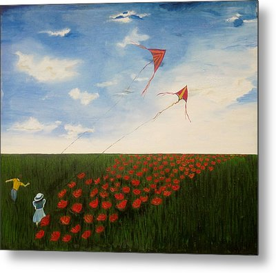 Children Flying Kites Metal Print by Rejeena Niaz