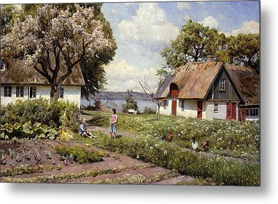 Children In A Farmyard Metal Print by Peder Monsted