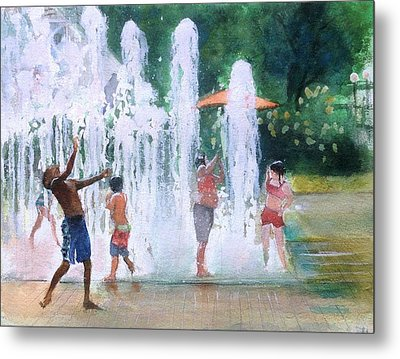 Children In Fountains II Metal Print
