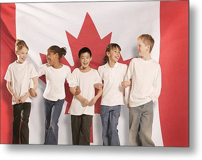 Children In Front Of Canadian Flag Metal Print by Don Hammond