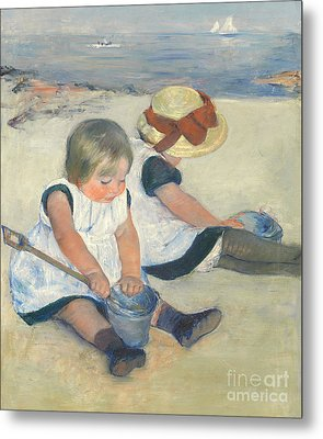Children Playing On The Beach Metal Print