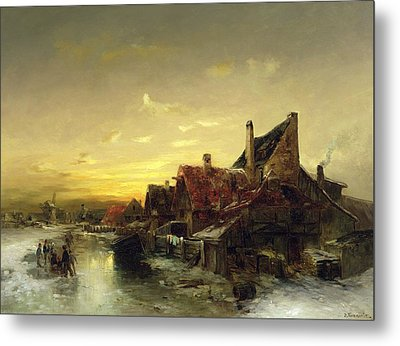 Children Playing On The Ice Metal Print
