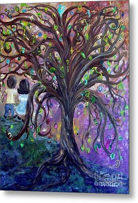 Metal Print featuring the painting Children Under The Fantasy Tree With Jackie Joyner-kersee by Eloise Schneider