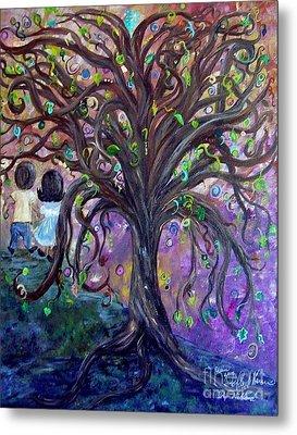 Children Under The Fantasy Tree With Jackie Joyner-kersee Metal Print by Eloise Schneider