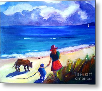 Metal Print featuring the painting Children With Dog - Original Sold by Therese Alcorn