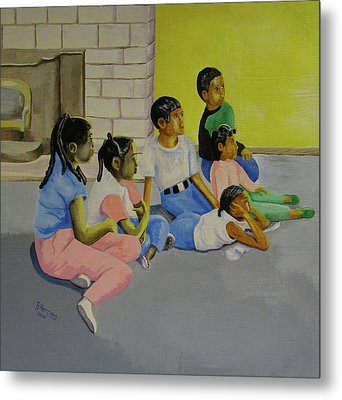 Metal Print featuring the painting Children's Attention Span  by Thomas J Herring