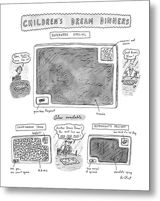 Children's Dream Dinners Superhero Special Title: Metal Print by Roz Chast