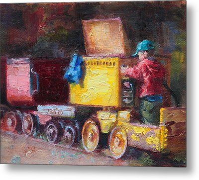 Child's Play - Gold Mine Train Metal Print by Talya Johnson