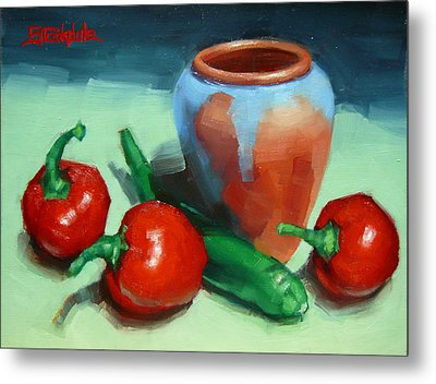 Chilli Peppers And Pot Metal Print by Margaret Stockdale