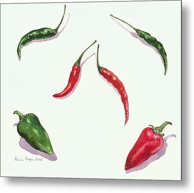 Chillies And Peppers Metal Print by Alison Cooper