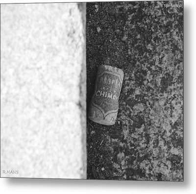 Chimay Wine Cork In Black And White Metal Print by Rob Hans