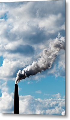 Chimney Exhaust Waste Amount Of Co2 Into The Atmosphere Metal Print by Ulrich Schade