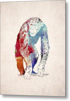 Chimpanzee Drawing - Design Metal Print