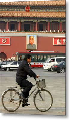 Metal Print featuring the photograph China Bicycle by Henry Kowalski