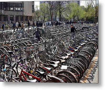Metal Print featuring the photograph China Bicycle Parking by Henry Kowalski