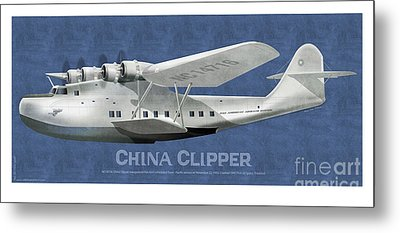 Metal Print featuring the drawing China Clipper Nc 14716 by Kenneth De Tore