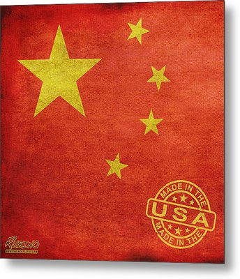 China Flag Made In The Usa Metal Print by Tony Rubino