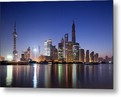 China, Shanghai, Glow Of Twilight Metal Print