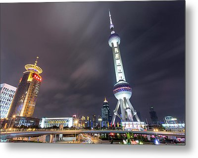 China, Shanghai, Oriental Pearl Radio Metal Print by Paul Souders