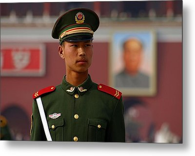 Metal Print featuring the photograph China Soldier by Henry Kowalski