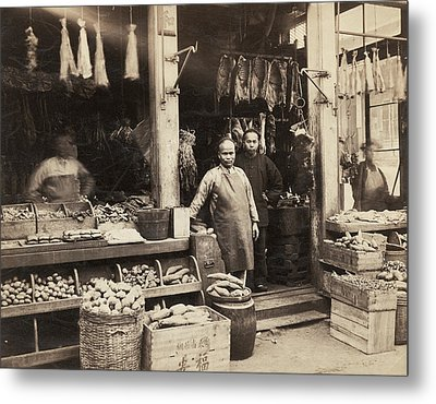 Chinatown Grocery Store Metal Print by Underwood Archives