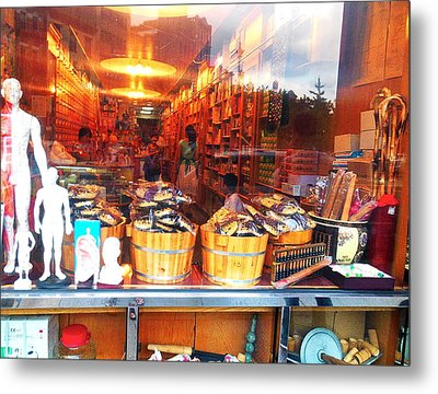 Metal Print featuring the photograph Chinatown Nyc Herb Shop by Joan Reese