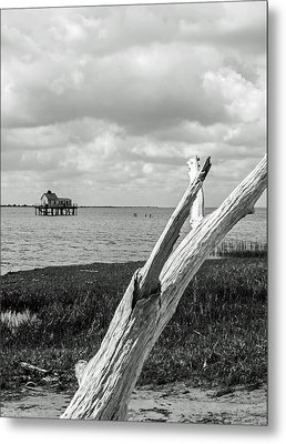 Chincoteague Oystershack Bw Vertical Metal Print