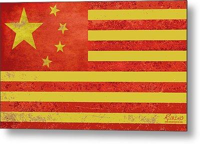 Chinese American Flag Metal Print by Tony Rubino