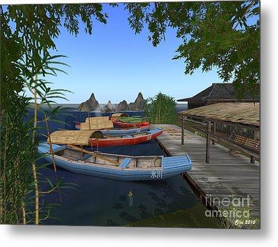 Metal Print featuring the digital art Chinese Boats by Susanne Baumann