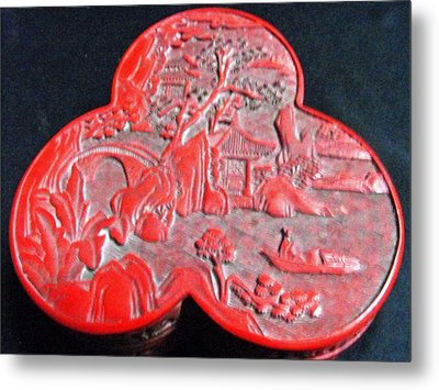 Chinese Cinnabar Trefoil Container Metal Print by Anonymous