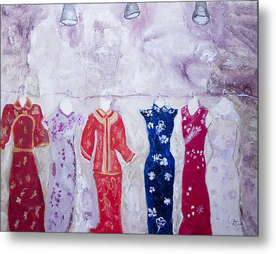 Chinese Dresses Metal Print