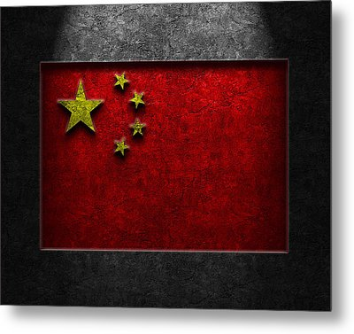 Metal Print featuring the digital art Chinese Flag Stone Texture by Brian Carson