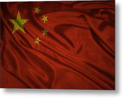 Chinese Flag Waving On Canvas Metal Print by Eti Reid