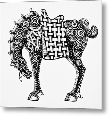 Chinese Horse - Zentangle Metal Print