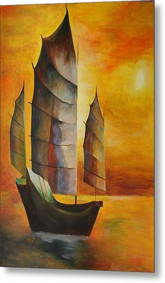 Metal Print featuring the painting Chinese Junk In Ochre by Tracey Harrington-Simpson