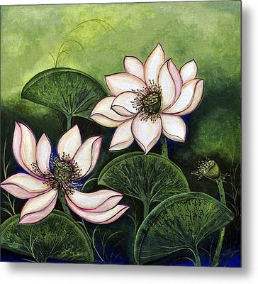 Chinese Lotus With Gold Pollen Metal Print by Sucheta Misra